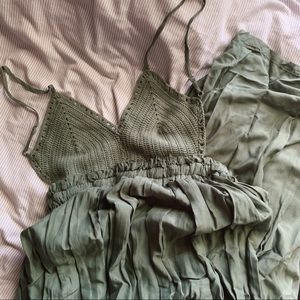 a'gaci Dresses - Backless Crochet Green Maxi Dress